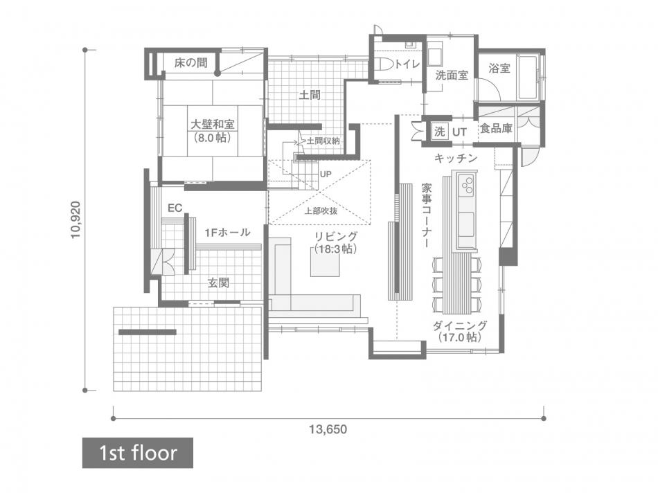 1Fフロアプラン 建築面積 130.42㎡(39.45坪) 1階面積 121.31㎡(36.69坪)