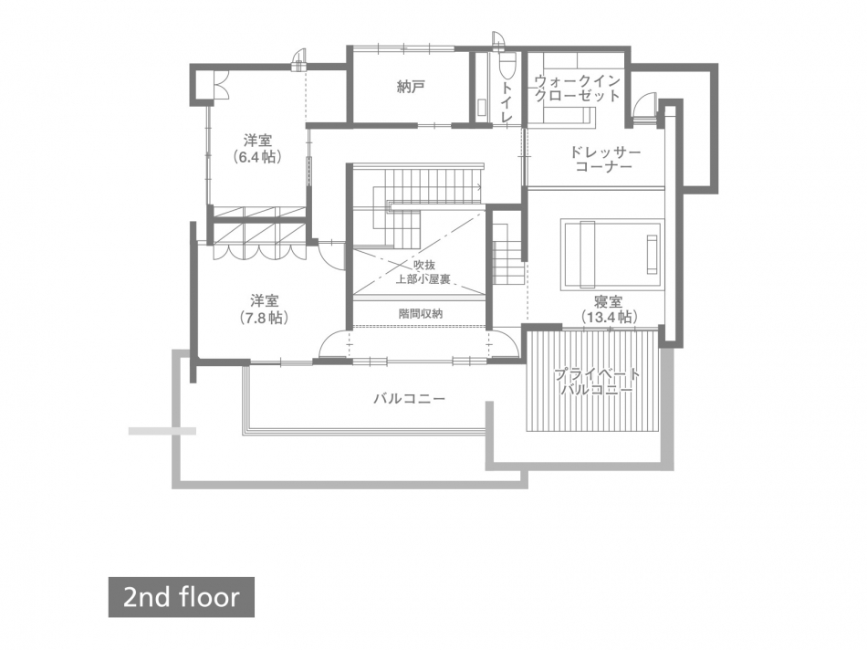 2Fフロアプラン 87.45㎡(26.45坪)