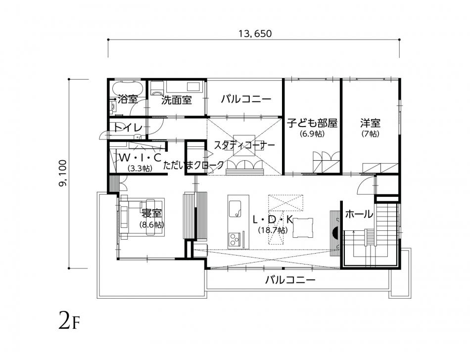 2Fフロアプラン 2階面積 124.75㎡(37.73坪)