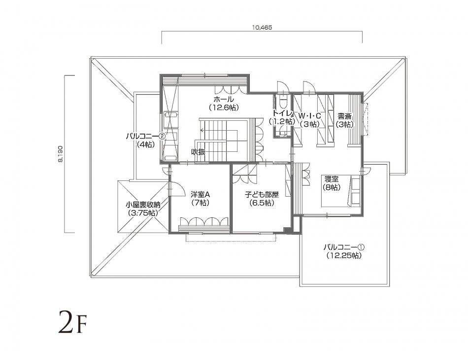 2Fフロアプラン 2階面積 86.23㎡(26.08坪)