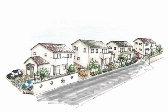 街並みイメージパース 建物は自由設計となり実際とは異なります。